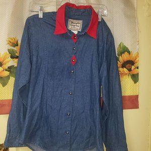 Wrangler Wear Blue Jean Shirt Red Collar Sz S
